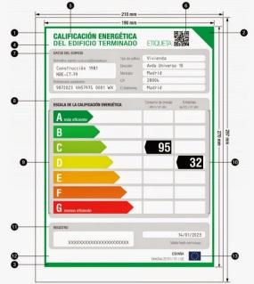 Ejemplo de etiqueta de Certificación Energética.